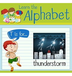 Flashcard letter T is for thunderstorm vector image vector image