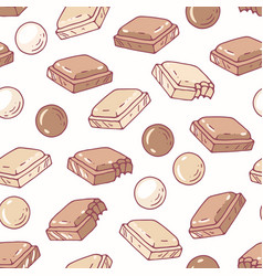 hand drawn seamless pattern with chocolate vector image vector image
