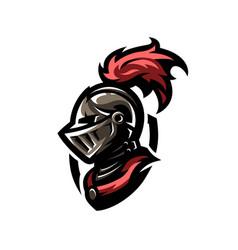 medieval warrior knight in helmet vector image