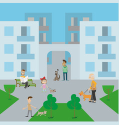 people walk their dogs in the yard vector image vector image