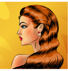 pop art beautiful redheaded woman portrait vector image