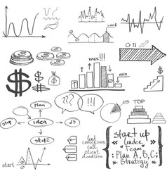 business elements hand-drawn vector image
