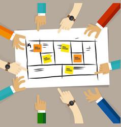 business model framework team discuss plan for vector image