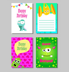 colorful funny cards set with cute monsters vector image vector image