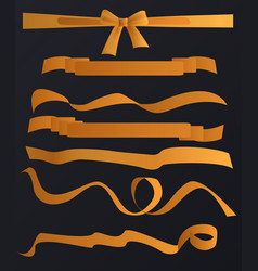 golden tapes ribbons set on the black vector image vector image