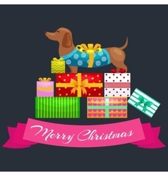 Happy Christmas dogs on stack of presents xmas vector image vector image
