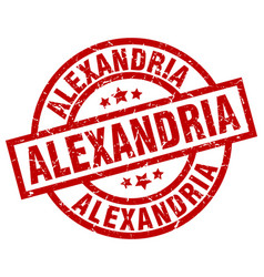 alexandria red round grunge stamp vector image vector image