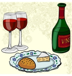 Drawing of wine and glasses vector