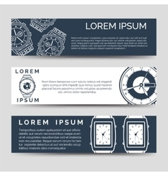 Horizontal banners set with watch icons vector image vector image