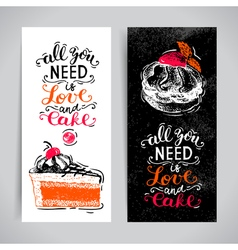 Sweet cakes pastry hand drawn vintage poster set vector image vector image