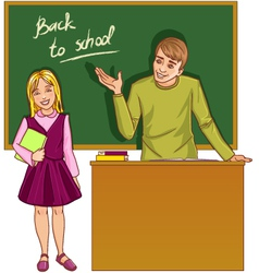 Teacher at blackboard in classroom with girl vector image vector image