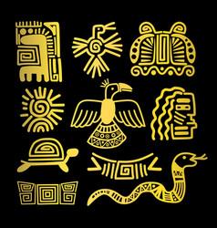 tribal indian golden symbols vector image vector image
