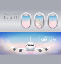 airplane window the tourist banner airplane in vector image