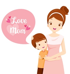 Son Hugging His Mother vector image vector image