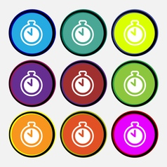 The stopwatch icon sign Nine multi colored round vector image vector image