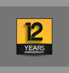 12 years anniversary in square yellow and black vector