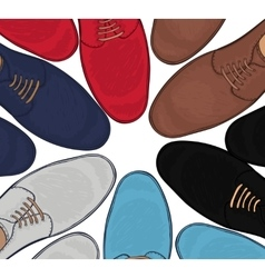 Advertising men s shoes assorted colors and sizes vector