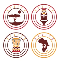 African ethnic culture music and nature labels set vector image
