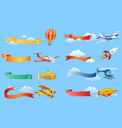 air vehicles with horizontal banners set vector image