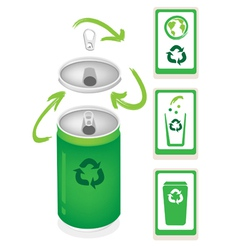 Aluminum Can with Recycle Symbol and Trash Can vector image