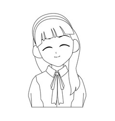 Anime girl icon vector
