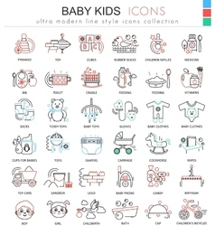bakids ultra modern outline line icons vector image