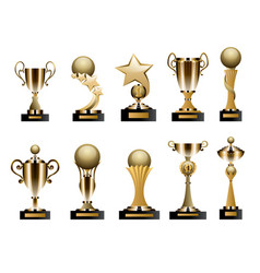 Beautiful golden trophy cups and awards of vector