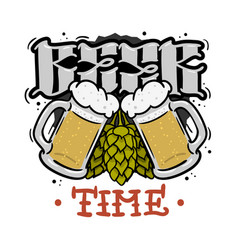 beer time hand drawn design for t shirt print with vector image