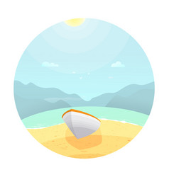 boat on the beachcolorful landscape with cloud vector image