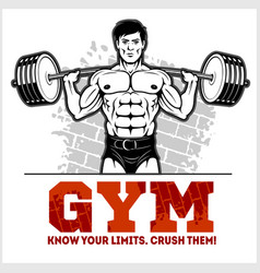 bodybuilder with barbell working out hard vector image