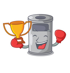 Boxing winner cartoon steel trash can in the vector