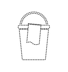 bucket and a rag sign black dashed icon vector image