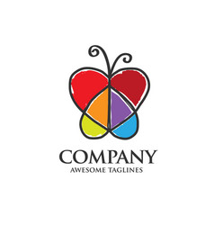 Butterfly logo with heart shaped wings vector