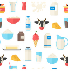 cartoon color milk products seamless pattern vector image