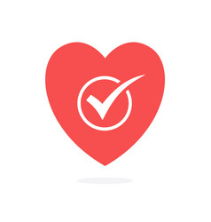 Check mark in heart isolated vector