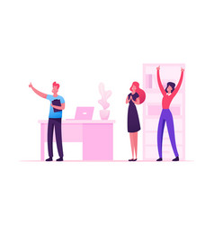 Cheerful businesspeople laughing and waving hands vector
