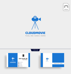 cloud video movie badge simple logo template with vector image