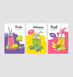 collection of bright colored flyer or poster vector image