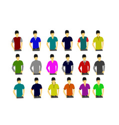 collection of t-shirts on the male model isolated vector image
