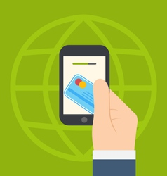Concept of contactless credit card payment via vector