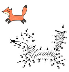 connect dots and draw a cute fox vector image