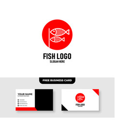 Couple fish logo design and business card template vector