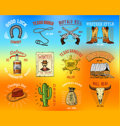 Cowboy set badges wild west rodeo or indians vector