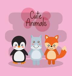 cute animals penguin hippo tiger baby friendly vector image