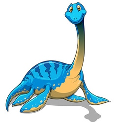 Cute long neck blue dinosaur on white vector
