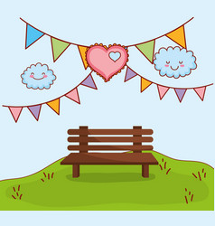 cute love celebration at park cartoon vector image