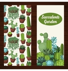 Cute succulent banners vector image