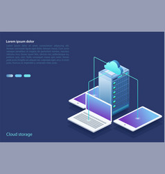 Data center with digital devices concept of cloud vector
