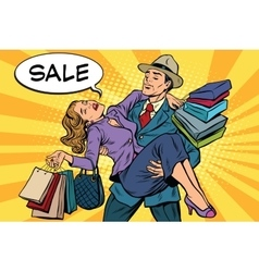 Discounts and sales Retro man carrying woman on vector image