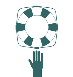 drown man with rised hand getting lifebuoy help in vector image
